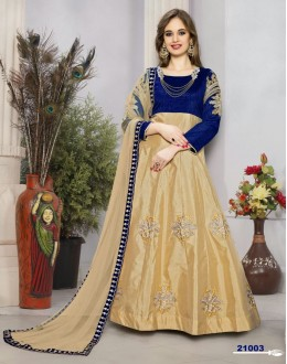 Party Wear Blue & Beige Tafeta Silk Anarkali Suit  - 21003