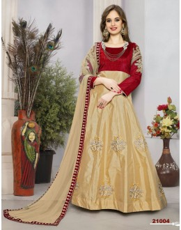 Festival Wear Red & Beige Tafeta Silk Anarkali Suit  - 21004