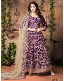 Festival Wear Purple Banglori Silk Anarkali Suit  - 20002