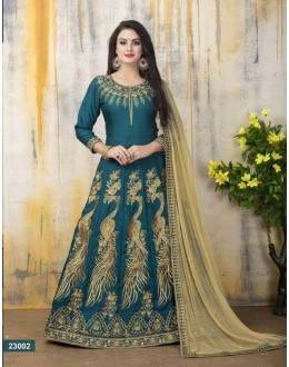 Party Wear Firozi Banglori Silk Anarkali Suit - 23002