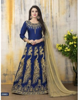 Party Wear Blue Banglori Silk Anarkali Suit - 23003