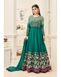 Mouni Roy In Green Mono Net Anarkali Suit  - 18002
