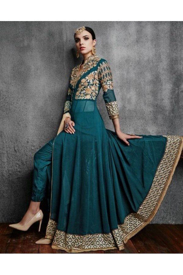 Party Wear Green Georgette Anarkali Suit - 11003-A