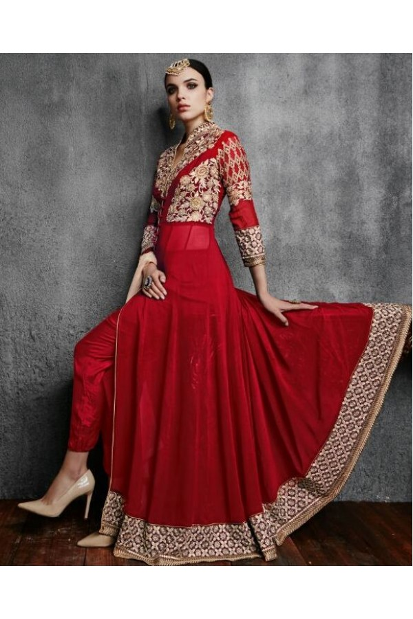 Party Wear Red Georgette Anarkali Suit - 11003-C