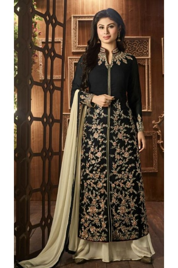 Party Wear Black Georgette Palazzo Suit - 12021