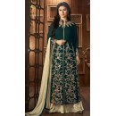 Party Wear Green Georgette Palazzo Suit - 12024