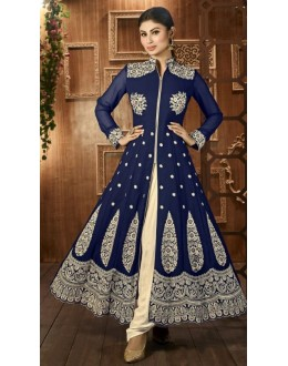 Traditional Blue Georgette Anarkali Suit - 12025