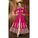 Fancy Pink & Cream Georgette Anarkali Suit - 12027
