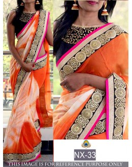 Bollywood Replica - Ethnic Wear Orange Printed Saree - NX-33