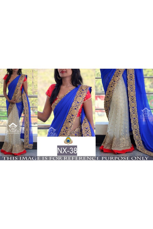 Bollywood Replica - Wedding Wear Blue & Cream Saree - NX-38