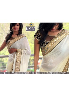 Bollywood Replica - Party Wear Cream Georgette Saree - NX-39