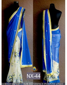 Bollywood Replica - Designer Blue & Off-White Saree - NX-44
