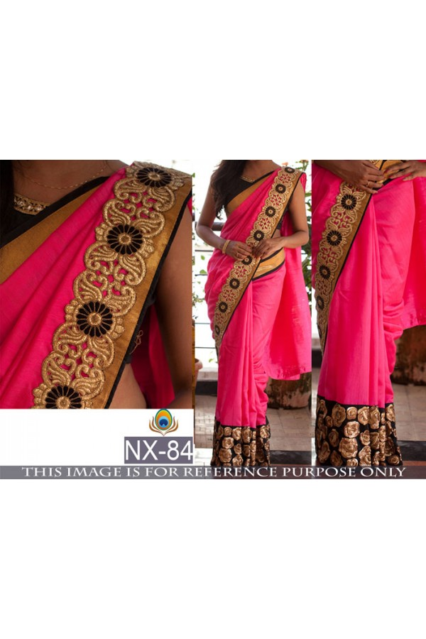 Bollywood Replica- Ethnic Wear Pink & Black Saree - NX-84