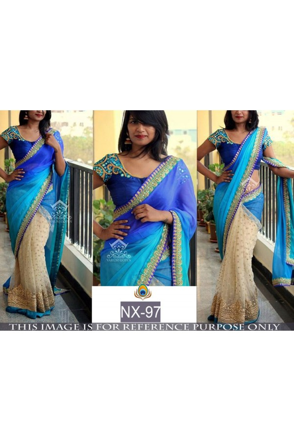 Bollywood Replica - Wedding Wear Blue & Beige Saree - NX-97