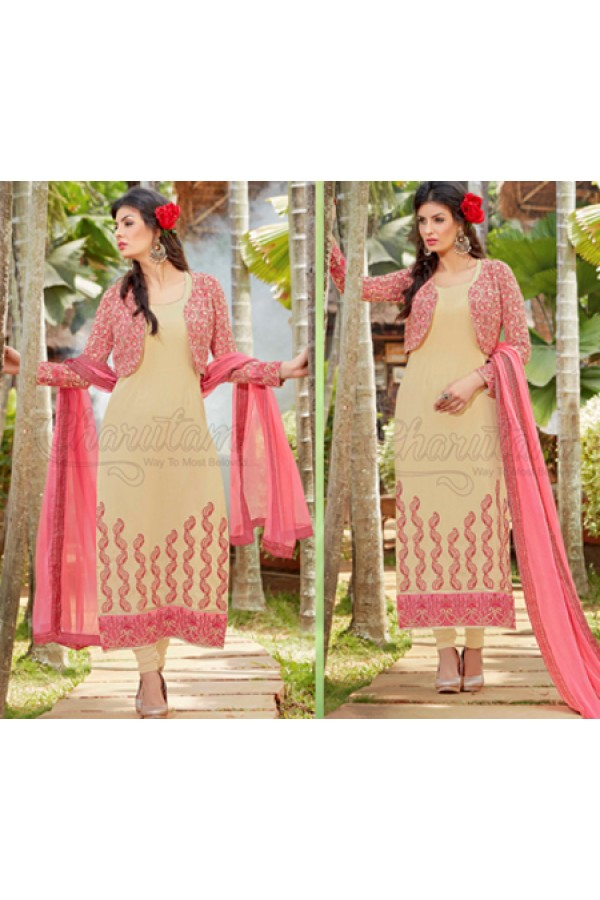 Party Wear Beige & Pink Georgette Salwar Suit - 1014