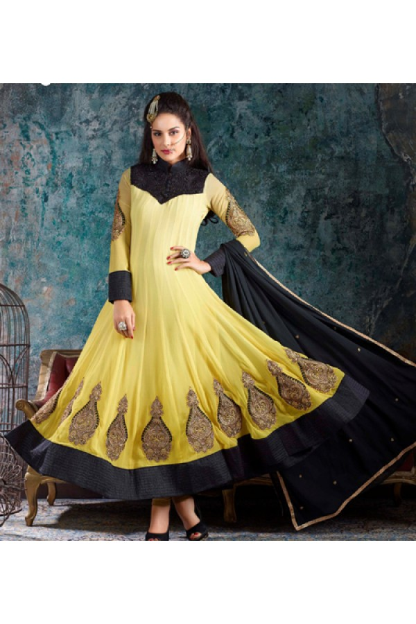 Designer Yellow & Black Georgette Anarkali Suit - 1001