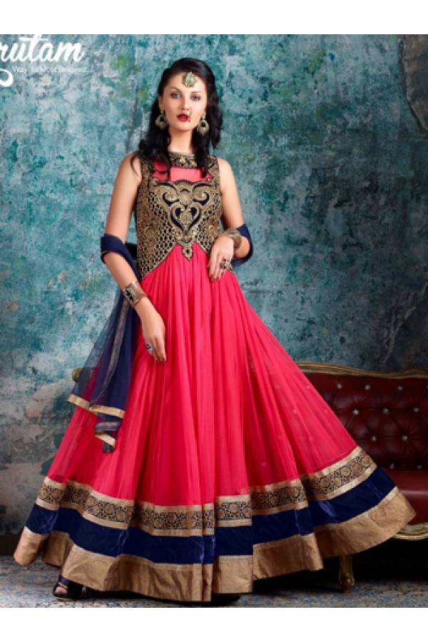Traditional Pink & Blue Net Anarkali Suit - 1002