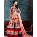 Traditional Peach Net Lehenga Suit - 1004