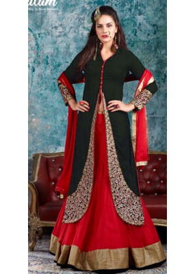 Traditional Black Indo Western Lehenga Suit - 1005