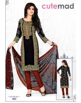 Festival Wear Black Cotton Salwar Suit  - 403