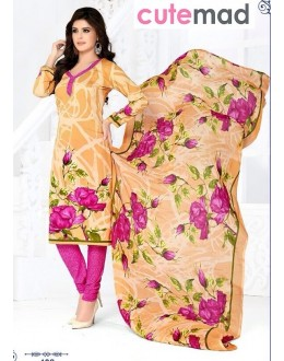 Office Wear Cream & Pink Cotton Salwar Suit  - 408