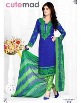 Festival Wear Blue & Green Cotton Salwar Suit  - 410