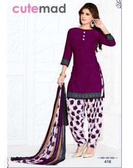 Office Wear Violet & White Cotton Patiyala Suit  - 416