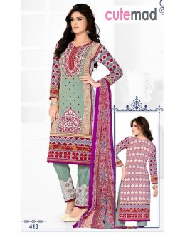 Festival Wear Multi-Colour Cotton Salwar Suit  - 418