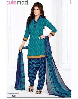 Casual Wear Aqua Blue Cotton Patiyala Suit  - 420