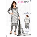 Office Wear White & Grey Cotton Salwar Suit  - 422