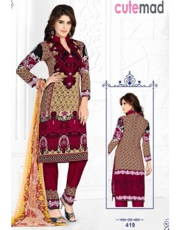 Party Wear Multi-Colour Cotton Salwar Suit  - 419
