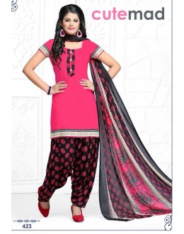 Party Wear Pink & Black Cotton Patiyala Suit  - 423