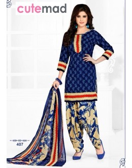 Casual Wear Blue Cotton Patiyala Suit  - 407