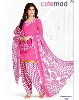Office Wear Pink & White Cotton Patiyala Suit  - 412