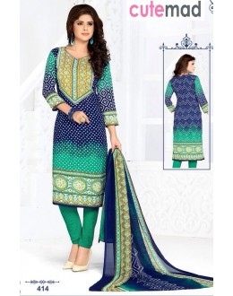 Party Wear Blue & Green Cotton Salwar Suit  - 414
