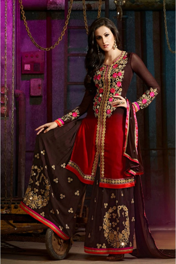 Party Wear Red & Brown Georgette Palazzo Suit- 7001