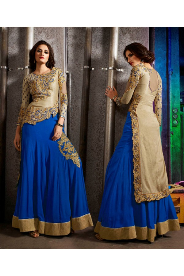 Party Wear Beige & Blue Australian Silk Salwar Suit- 7002