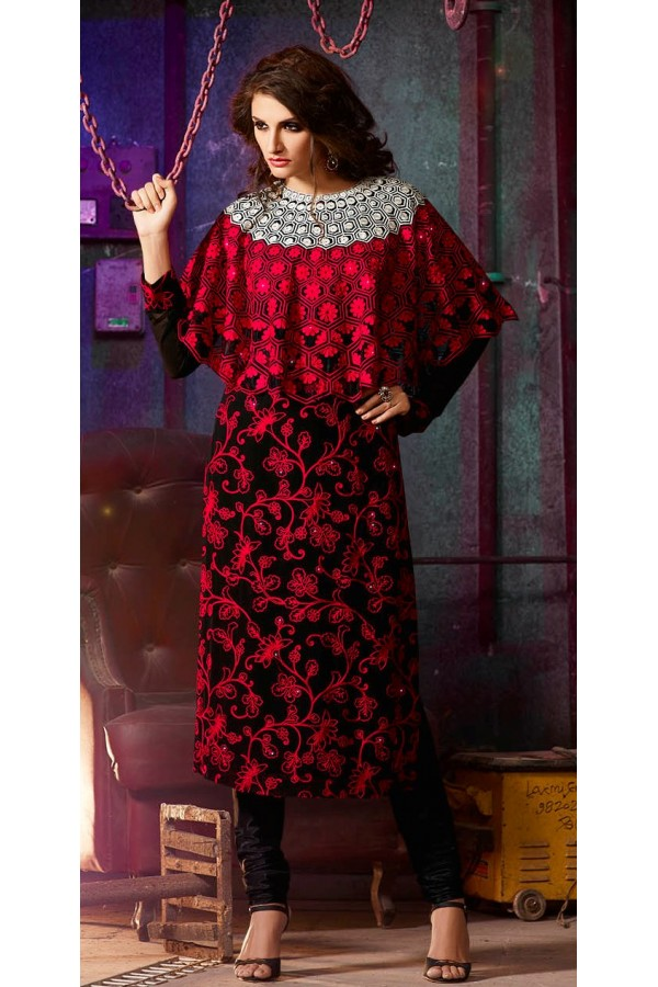 Party Wear Red & Black Georgette Salwar Suit- 7003-A