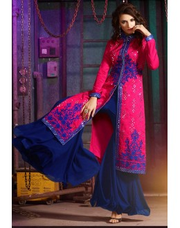 Party Wear Pink & Blue Australian Silk Palazzo Suit- 7004-A
