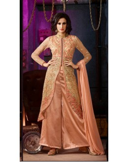 Party Wear Peach Silky Net Palazzo Suit- 700-B