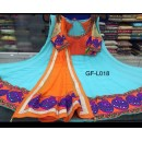 Navratri Special Sky Blue & Orange Lehenga Choli - GF-L018