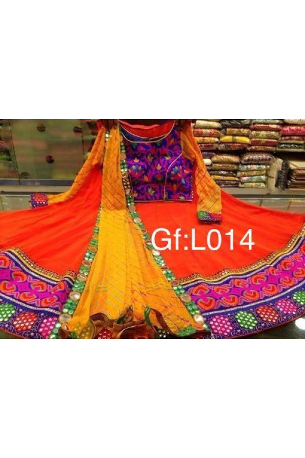 Navratri Special Orange & Yellow Lehenga Choli - GF-L014