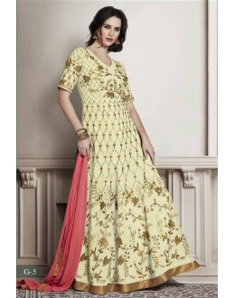 Party Wear Cream Faux Georgette Anarkali Suit - G-5