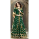 Traditional Green Banglori Silk Anarkali Suit - 1501-G
