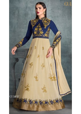 Party Wear Blue Faux Georgette Anarkali Suit - 1603