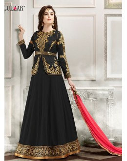 Party Wear Black Banglori Silk Anarkali Suit  - 1803 Black