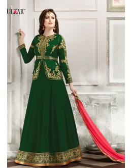 Wedding Wear Green Banglori Silk Anarkali Suit  - 1803 Green