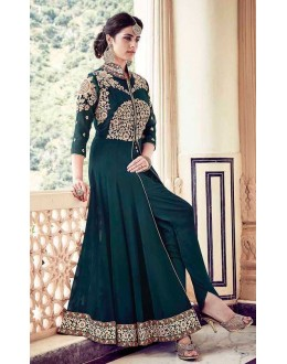 Wedding Wear Green Faux Georgette Slit Salwar Suit  - 16003