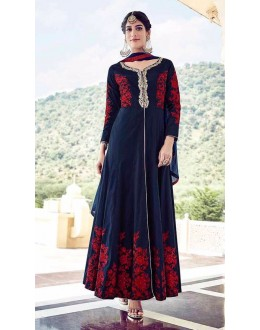 Festival Wear Blue Tapeta Silk Slit Salwar Suit  - 16005