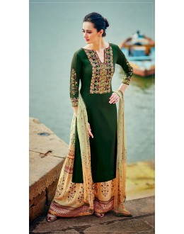 Pure Cotton Satin Green Palazzo Suit - 7006